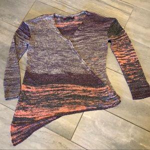 prAna Asymmetrical Knit Long Sleeve V-Neck Sweater